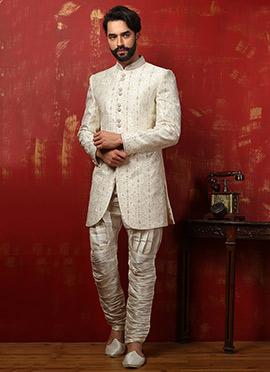 Benarasi Silk Off White Breeches Style Achkan Sherwani