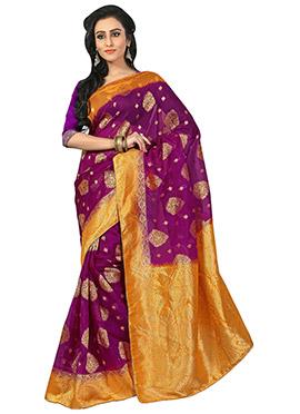 Benarasi Silk Violet Saree