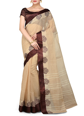 Bengal Handloom Beige Cotton Tant Border Saree