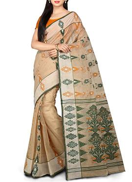 Bengal Handloom Beige Cotton Tant Saree