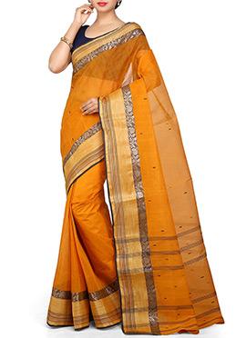 Bengal Handloom Mustard Cotton Tant Saree