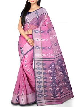 Bengal Handloom Pink Cotton Tant Saree