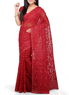 Bengal Handloom Red Jamdani Silk Cotton Saree