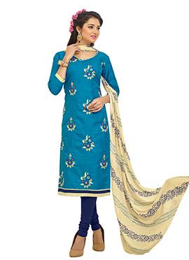Bhagalpuri Cotton Blue Churidar Suit