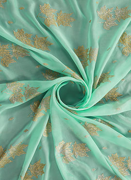 Biscay Green Foil Printed Paper Silk Fabric