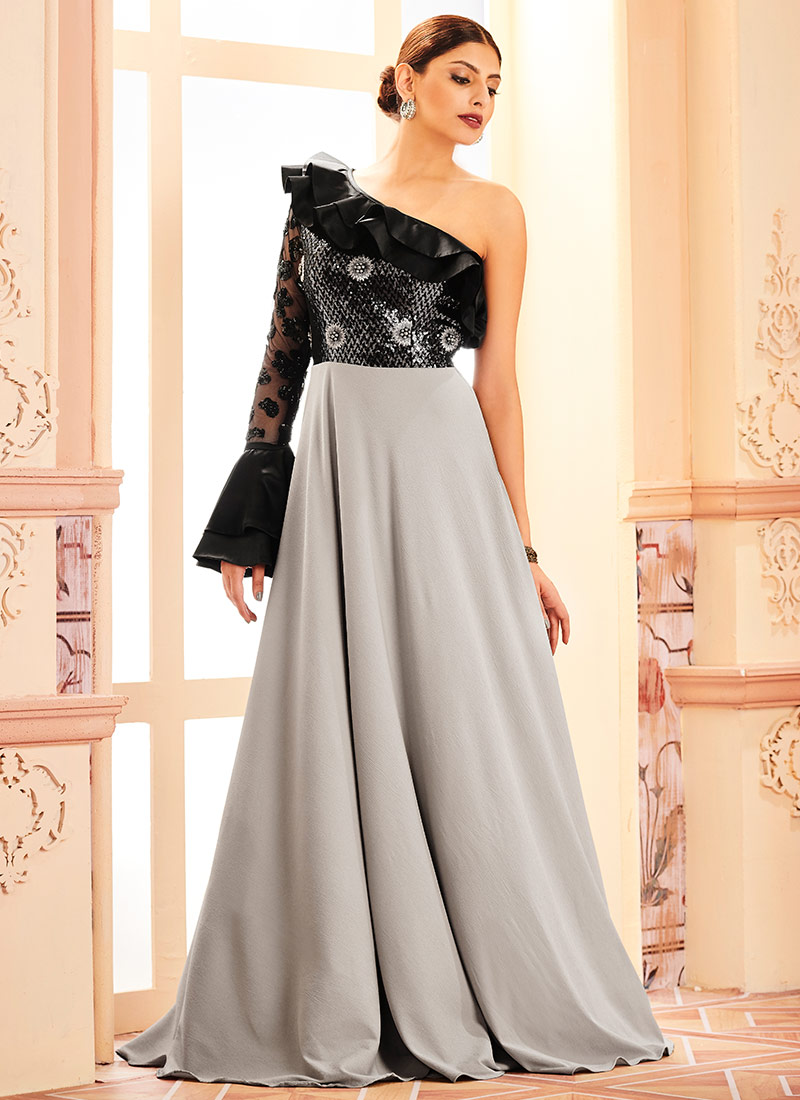 Buy Black N Grey Anarkali Gown, Sequins , Embroidered, dresses and ...