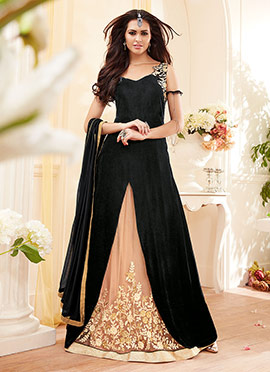 Black A Line Long Choli Lehenga
