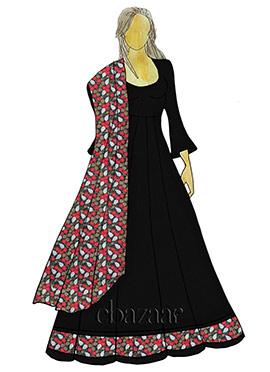 Black Abaya Style Anarkali Suit