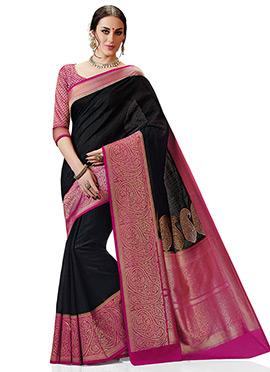 Black and Pink kancheepuram Spun Silk Saree