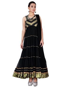 Black Ankle Length Anarkali Suit