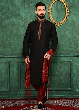 Black Art Benarasi Silk Kurta Pyjama