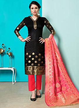 2696139dbfe Black Art Benarasi Silk Straight Pant Suit
