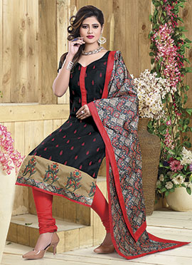 Black Art Chanderi Silk Churidar Suit