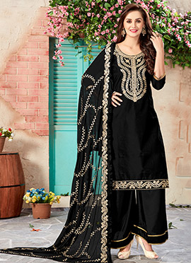 Black Art Chanderi Silk Palazzo Suit