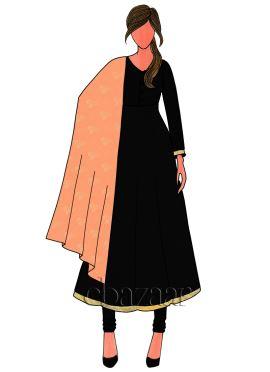 Black Art Dupion Silk Anarkali Suit