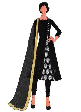 Black Art Dupion Silk Churidar Suit