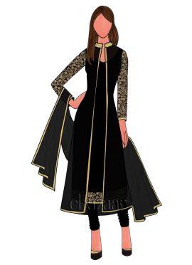 Black Art Dupion Silk Churidar Suit With Jacket