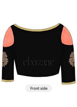 Black Art Dupion Silk Cold Shoulder Embroidered Blouse