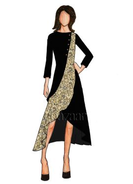 Black Art Dupion Silk Double Layered Long Kurti