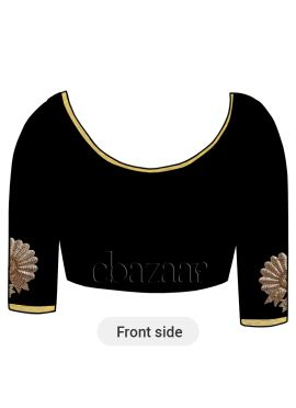 Black Art Dupion Silk Embroidered Blouse