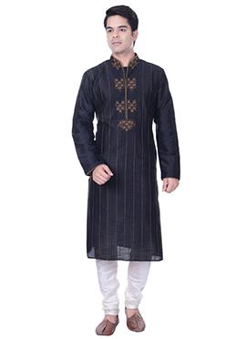 Black Art Dupion Silk Embroidered Kurta Pyjama