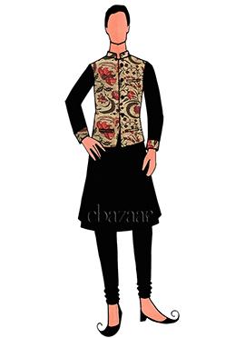 Black Art Dupion Silk Indowestern Sherwani