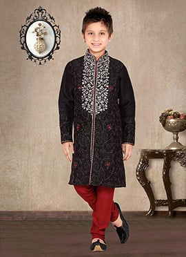 Black Art Dupion Silk Kids Kurta Pyjama