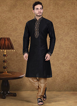 Black Art Dupion Silk Kurta Pyjama