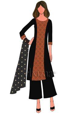 Black Art Dupion Silk Palazzo Suit