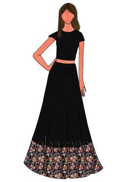 Black Art Dupion Silk Skirt Set