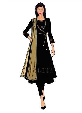 Black Art Raw Silk Angrakha Anarkali Suit