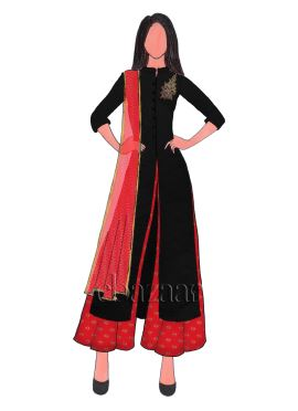 Black Art Raw Silk Embroidered Flared Palazzo Suit