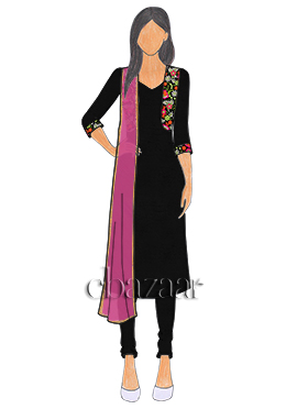 Black Art Raw Silk Jacket Style Churidar Suit