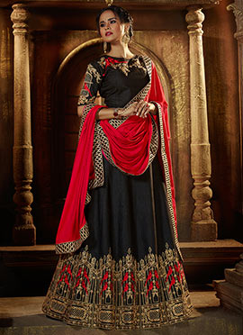 Black Art Silk A Line Lehenga