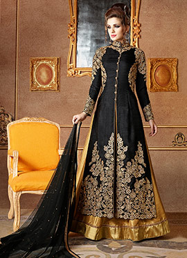 Black Art Silk A Line Lehenga
