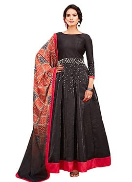 Black Art Silk Abaya Style Anarkali Suit
