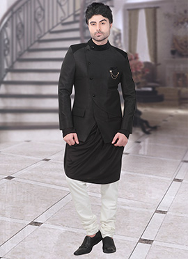 Black Art Silk Achkan Sherwani