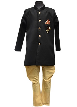 Fayon Black Art Silk Ajkan Kids Sherwani