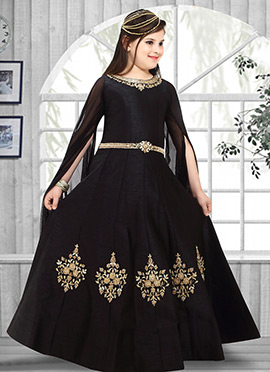 Black Art Silk Anarkali Gown