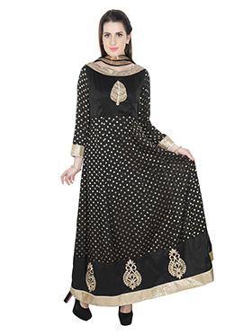 Black Art Silk Anarkali Suit