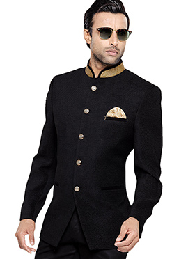 Black Art Silk Bandhgala Jacket