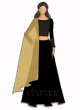 Black Art Silk Boat Neck Lehenga Set