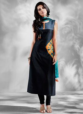 Black Art Silk Churidar Suit