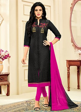 Black Art Silk Churidar Suit