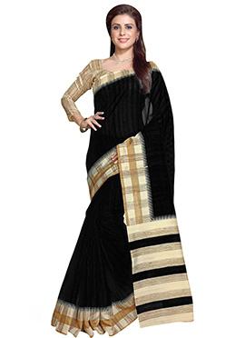 Black Art Silk Contrasting Border Saree