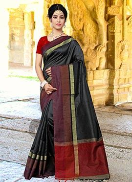 Black Art Silk cotton Saree