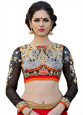 Black Art Silk Embroidered Blouse