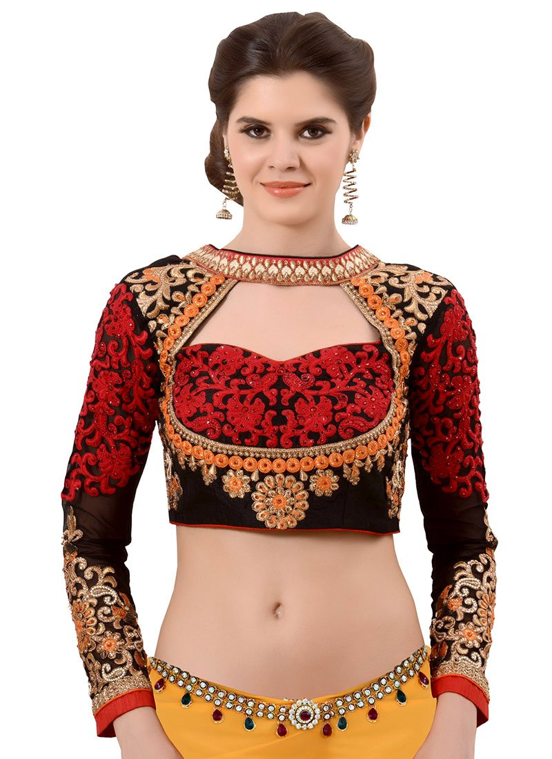Buy Black Art Silk Embroidered Blouse Embroidered Blouse Online Shopping | BLSVTR1027