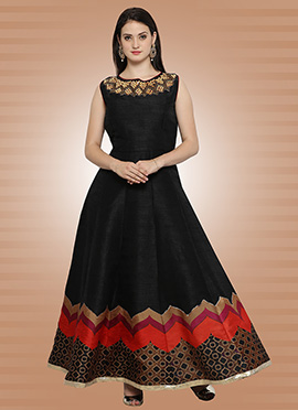 Black Art Silk Gown