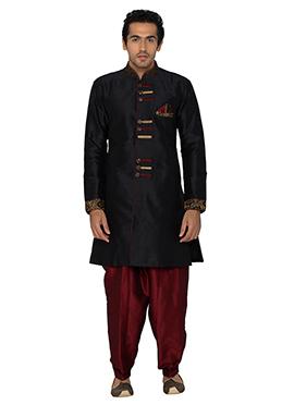 Black Art Silk Indowestern Kurta Pyjama